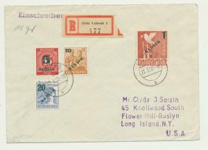 BERLIN GERMANY 1950 GREEN SURCHARGES(1m,5,10,20pf)ON REG COVER TO USA(SEE BELOW)