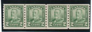 Canada #161 Very Fine Never Hinged Coil Strip Of Four