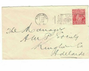 APH1488) Australia 1930 2d Red KGV Die II Small Cover