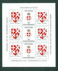 Denmark. Poster Stamp Sheet MH 1985. Danish Maltese,Souverain Order.Coats,Arms.