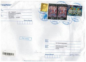 Kazakhstan 2020 Registered Cover to Poland Stamps Space Astronauts Music Compose
