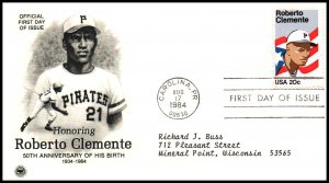 US 2097 Roberto Clemnte PCS Typed FDC