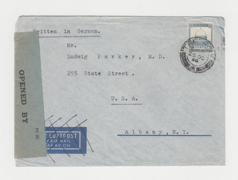 PALESTINE -USA 1940 CENSOR COVER, TAPE TYPE 6A1(70) & H/S TYPE 1A (SEE BELOW)