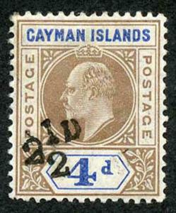 Cayman Is SG35 KEVII 1908 2 1/2d on 4d brown and blue M/M KEY STAMP