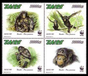 Zaire WWF Bonobo 4v in block 2*2 MI#1339-1342 SC#1466 a-d