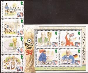 Montserrat - 1994 FIFA Soccer - 4 Stamp Sheet + 4 Stamp Strip 13B-003