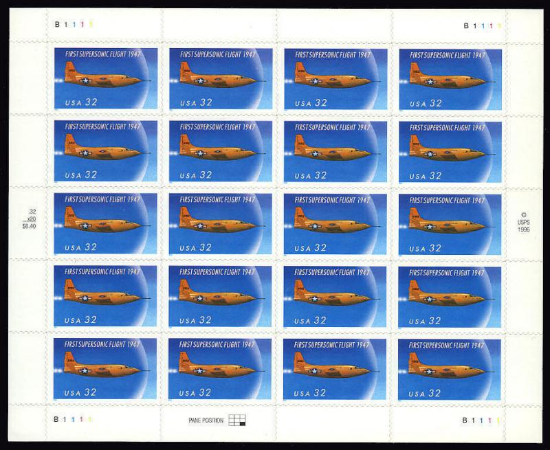 US SC# 3173 FIRST SUPERSONIC FLIGHT 1947 MNH (4hcoblue)