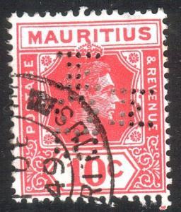 MAURITIUS GVI 10c used MCB/M PERFIN........................................13459