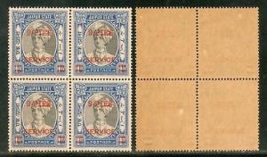 India Jaipur State 9ps O/P on 1An King Service SG O32 / Sc O30 Cat.£16 BLK/4...