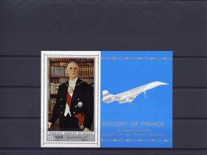 Yemen Arab Republic 1969 CONCORDE De Gaulle 2 s/s Perforated mnh.vf