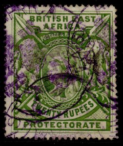 BRITISH EAST AFRICA QV SG98, 20r pale green, USED. Cat £110.