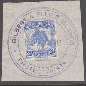 GILBERT & ELLICE IS Pandanus 2½d on 1912 piece huge BUTARITARI cds.........29964