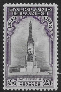 FALKLAND ISLANDS SG135 1933 CENTENARY 2/6 BLACK & VIOLET MTD MINT