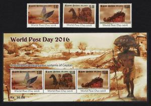 Sri Lanka Pigeon Post Birds Horses Ship World Post Day 3v+MS SG#2401-MS2404