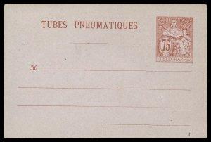 fr026 France red 75 centimes envelope Tubes Pneumatiques Telegraphe unused