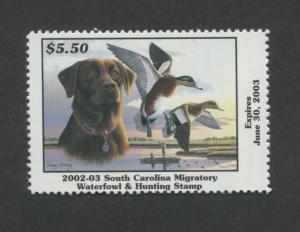 SOUTH CAROLINA #22 2002 STATE DUCK STAMP WIDGEON/CHOCOLATE LAB  R. Huckaby