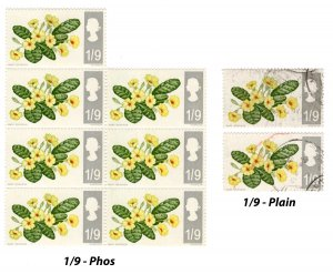 Great Britain GB UK 1967 British Wild Flowers 1/9 d Margin Block. MNH USED