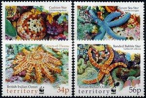 2001 British Indian Ocean Territory WWF, Starfish, compl. set VFMNH!