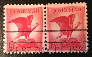 C67, Red Eagle, Circ. pair, First Day of Issue, not tagged, Vic's Stamp Stash