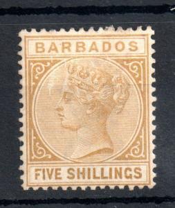 Barbados 1886 5/- bistre mint no gum #103 WS13456