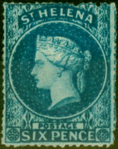 St Helena 1861 6d Blue SG2a Rough Perf Good Mtd Mint