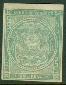 EDW1949SELL : ECUADOR 1865 Scott #5 Very Fine, Mint, full Original Gum. Cat $300