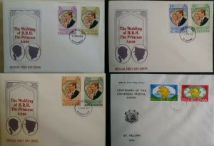 St Helena & Ascension & Falkland Island 1973 Royal Wedding FDC + 1974 UPU
