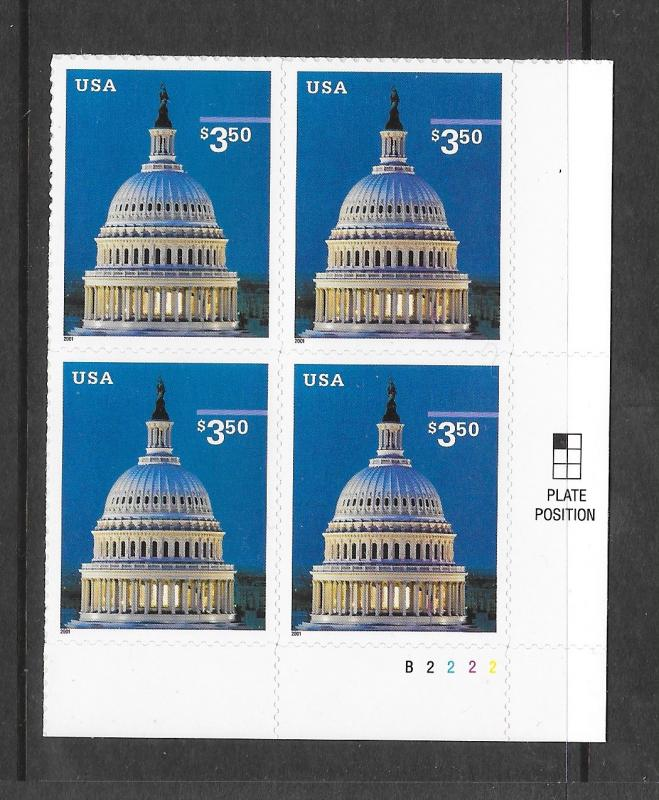 3472 MNH, $3.50, Capitol Dome, B.R. Plate Block, Free Insured Shipping