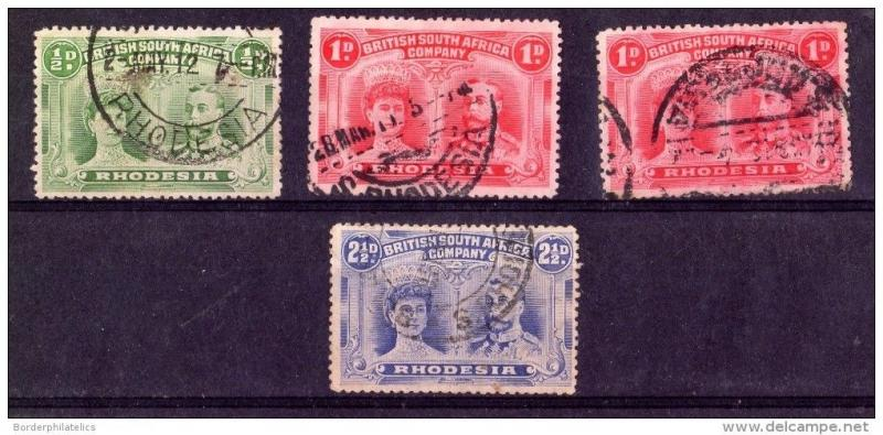 Rhodesia KGV Small Double Heads Collection of 4 Values Used X3650