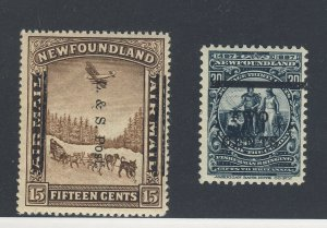2x Newfoundland OP Stamps #127-2c/30c MH VF #211-15c OP shifted GV = $108.00
