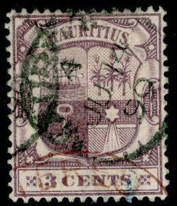 MAURITIUS SG129, 3c dull puple & deep purple, FINE used, CDS.