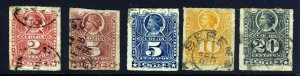 CHILE 1878 Rouletted Colon Group SG 57 to SG 62 FU