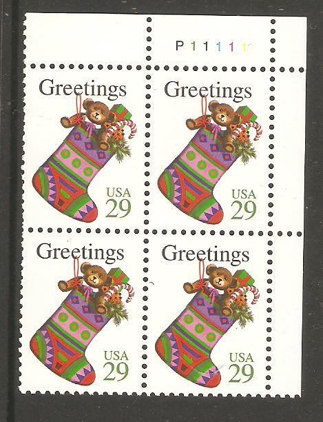 #2872 Christmas Stocking Plate Block Mint NH #P11111