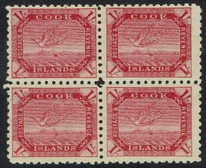 COOK ISLANDS 1893 TOREA BIRD 1/- TONED PAPER BLOCK */** WMK SIDEWAYS PERF 11