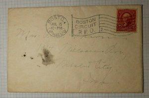 US Sc# 301 Used On Cover 1903 Boston Circuit RPO 2 Flag Cancel