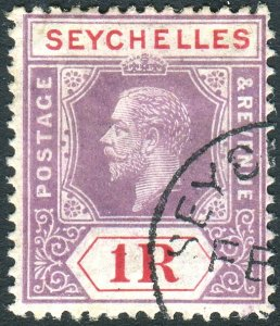 SEYCHELLES-1920 1r Dull Purple & Red.  A fine used example Sg 94