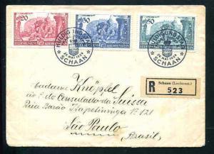 Liechtenstein 1939 Prince Franz Josef II First Day Cvr. Sg 183-185 to Brazil
