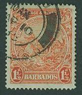 Barbados SC# 168b Seal of the Colony - Perf 14, 1-1/2d, Used CV $4.00