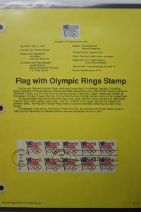 US sc#2528 FDC First Day Souvenir Page Olympic Rings Flag Booklet pane used 1991