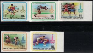 Ivory Coast SC522-526 Pre-OlympicYear-Boxing-Running-Soccer-Wrestling-Imperfs'79