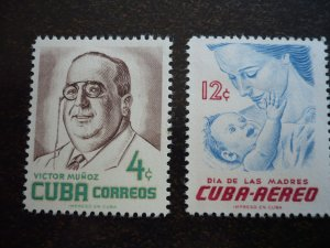Stamps - Cuba - Scott#557,C134 - Mint Hinged Set of 2 Stamps