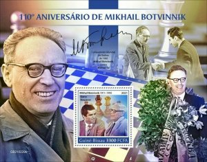 Guinea-Bissau - 2021 Chess Champ Mikhail Botvinnik - Souvenir Sheet - GB210229b