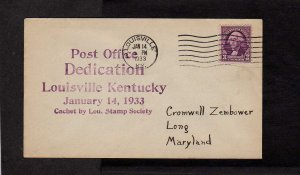 KY Post Office US PO Dedication Louisville Kentucky 1933 Stamp Cover