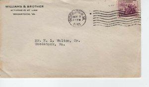 WILLIAMS & BROTHER, WOODSTOCK, VA  1933    FDC7893