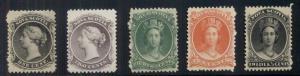 NOVA SCOTIA  #8,9,11-13, Partial set, og, NH, short perf 12 ½ ¢ otherwise VF