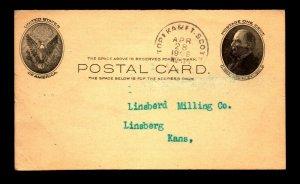 1908 Topeka & Ft Scott RPO Card - L24355