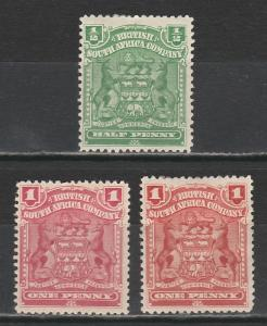 RHODESIA 1898 ARMS 1/2D AND 1D BOTH COLOURS