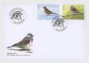 2019 LUXEMBOURG -  RARE BIRDS  - EUROPA -  SET ON FIRST DAY COVER