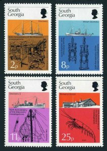 South Georgia 44-47,MNH.Michel 52-55. Research ships,Biological laboratory.1976.