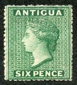Antigua SG8 1863-67 QV 6d Green Wmk Small Star M/M